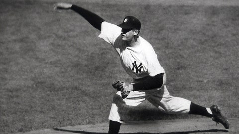<p>               FILE - In this Oct. 8, 1956, file photo, New York Yankees' Don Larsen delivers a pitch in the fourth inning of Game 5 against the Brooklyn Dodgers in the baseball World Series en route to the first World Series perfect game. The Yankees won 2-0 and went on to win the series. Larsen, the journeyman pitcher who reached the heights of baseball glory in 1956 for the Yankees when he threw a perfect game and the only no-hitter in World Series history, died Wednesday night, Jan. 1, 2020. He was 90. (AP Photo, File)             </p>
