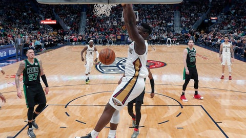 <p>               New Orleans Pelicans forward Zion Williamson (1) slam dunks in the second half of an NBA basketball game against the Boston Celtics in New Orleans, Sunday, Jan. 26, 2020. The Pelicans won 123-108. (AP Photo/Gerald Herbert)             </p>