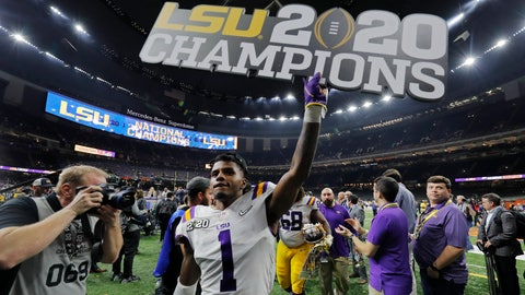 <p>               LSU cornerback Kristian Fulton leaves the field after a NCAA College Football Playoff national championship game against Clemson, Monday, Jan. 13, 2020, in New Orleans. LSU won 42-25. (AP Photo/Gerald Herbert)             </p>