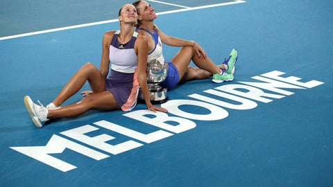 <p>               Hungary's Timea Babos, right, and France's Kristina Mladenovic, left, pose for a photo with the Australian Open women's doubles trophy after defeating Taiwan's Hsieh Su-Wei and Barbora Strycova of the Czech Republic at the Australian Open tennis championship in Melbourne, Australia, Friday, Jan. 31, 2020. (AP Photo/Andy Wong)             </p>