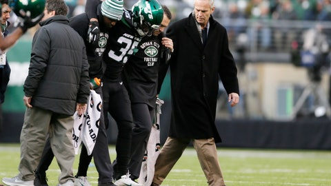 """<p>               FILE - In this Dec. 8, 2019, file photo, New York Jets cornerback Kyron Brown (35) is helped off the field after being injured during the second half of an NFL football game against the Miami Dolphins in East Rutherford, N.J. The New York Jets finished the season with a league-high 20 players on injured reserve and had so many other injuries the organization is studying every step from practice to recovery down to how they care for injuries to stay healthier in the future. Jets general manager Joe Douglas hopes 2019 was a """"bit of anomaly."""" (AP Photo/Adam Hunger, File)             </p>"""