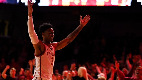 <p>               Southern California guard Elijah Weaver celebrates after USC defeated Stanford 82-78 in overtime in an NCAA college basketball game in Los Angeles, Saturday, Jan. 18, 2020. (AP Photo/Kelvin Kuo)             </p>