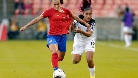<p>               Panama defender Maryorie Perez (14) pulls on the jersey of Costa Rica forward Melissa Herrera (7) during the first half of a women's Olympic qualifying soccer match Tuesday, Jan. 28, 2020, in Houston. (AP Photo/Michael Wyke)             </p>
