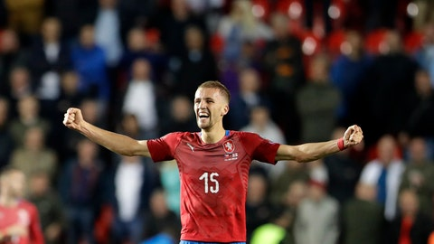 <p>               In this file picture taken on Friday, Oct. 11, 2019, Czech Republic's Tomas Soucek celebrates at the end of the Euro 2020 group A qualifying soccer match between Czech Republic and England at the Sinobo stadium in Prague, Czech Republic. Czech Republic midfielder Tomas Soucek has moved from Slavia Prague to English Premier League team West Ham United on loan, according to a club announcement Wednesday Jan. 29, 2020. (AP Photo/Petr David Josek/File)             </p>