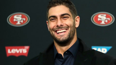 <p>               San Francisco 49ers quarterback Jimmy Garoppolo smiles during a news conference after an NFL football game against the Seattle Seahawks, Sunday, Dec. 29, 2019, in Seattle. The 49ers won 26-21. (AP Photo/Stephen Brashear)             </p>