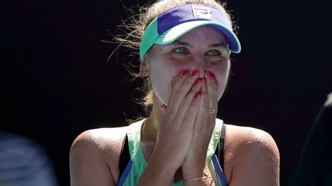<p>               Sofia Kenin of the U.S. reacts as she is interviewed on court after defeating Australia's Ashleigh Barty in their semifinal match at the Australian Open tennis championship in Melbourne, Australia, Thursday, Jan. 30, 2020. (AP Photo/Lee Jin-man)             </p>
