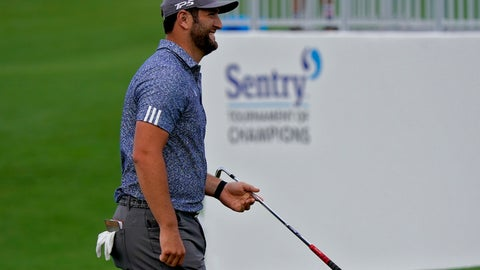 <p>               Jon Rahm smiles after chipping in for eagle on the ninth green during third round of the Tournament of Champions golf event, Saturday, Jan. 4, 2020, at Kapalua Plantation Course in Kapalua, Hawaii. (AP Photo/Matt York)             </p>