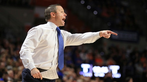 <p>               Florida head coach Mike White points during the first half of an NCAA college basketball game against Auburn, Saturday, Jan. 18, 2020, in Gainesville, Fla. (AP Photo/Matt Stamey)             </p>