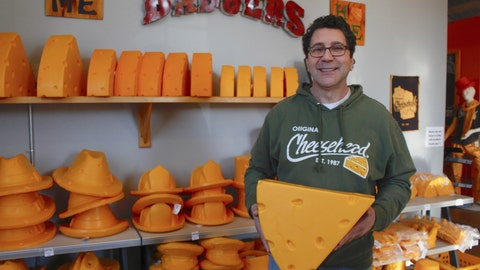 <p>               This Jan. 16, 2020 photo taken in Milwaukee shows Ralph Bruno, who invented the yellow wedge cheesehead in 1987 from his mother's couch stuffing. It has since become a symbol of pride, particularly for Wisconsin sports fans and residents. Foamation, Inc. moved into a new location in 2016 and soon started tours where people can make their own cheeseheads or other foam products.  (AP Photo/Carrie Antlfinger)             </p>
