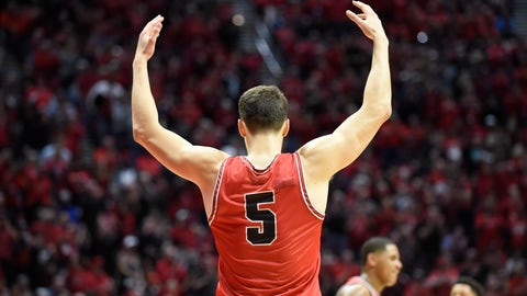 <p>               San Diego State forward Yanni Wetzell (5) celebrates after scoring during the second half of an NCAA college basketball game against Nevada Saturday, Jan. 18, 2020, in San Diego. (AP Photo/Denis Poroy)             </p>