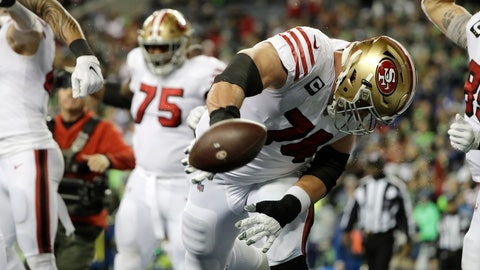 <p>               San Francisco 49ers' Joe Staley spikes the football after a touchdown run by Raheem Mostert against the Seattle Seahawks during the second half of an NFL football game, Sunday, Dec. 29, 2019, in Seattle. (AP Photo/Ted S. Warren)             </p>