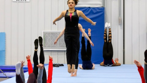 <p>               Laurie Hernandez trains with other USA gymnasts in Indianapolis, Monday, Jan. 20, 2020. Hernandez, a two-time Olympic medalist, and other veterans in the USA Gymnastics elite program have praised the organization for taking steps to become more accountable and transparent in the wake of the Larry Nassar scandal. (AP Photo/Teresa Crawford)             </p>