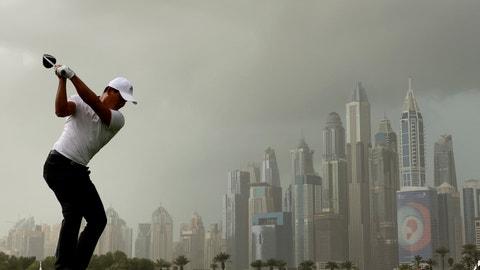 <p>               China's Ashun Wu tees off on the 8th hole during the final round of the Dubai Desert Classic golf tournament in Dubai, United Arab Emirates, Sunday, Jan. 26, 2020. (AP Photo/Kamran Jebreili)             </p>