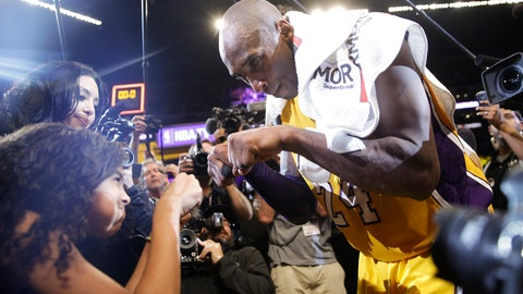 <p>               FILE - In this April 13, 2016 file photo Los Angeles Lakers' Kobe Bryant, right, fist-bumps his daughter Gianna after the last NBA basketball game of his career, against the Utah Jazz in Los Angeles. Bryant, the 18-time NBA All-Star who won five championships and became one of the greatest basketball players of his generation during a 20-year career with the Los Angeles Lakers, died in a helicopter crash Sunday, Jan. 26, 2020. Gianna also died in the crash. (AP Photo/Jae C. Hong, file)             </p>