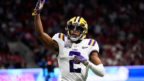 <p>               LSU wide receiver Justin Jefferson (2) celebrates his touchdown against Oklahoma during the first half of the Peach Bowl NCAA semifinal college football playoff game, Saturday, Dec. 28, 2019, in Atlanta. LSU won 63-28. (AP Photo/Danny Karnik)             </p>