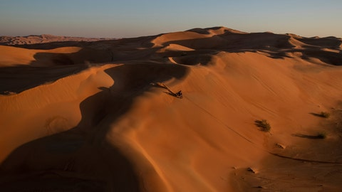 <p>               Ricky Brabec of United States rides his Honda motorbike during stage eleven of the Dakar Rally between Shubaytah and Haradth, Saudi Arabia, Thursday, Jan. 16, 2020. (AP Photo/Bernat Armangue)             </p>