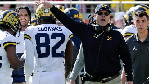 <p>               Michigan head coach Jim Harbaugh, right, congratulates tight end Nick Eubanks (82) after he caught a 7-yard touchdown pass against Alabama during the first half of the Citrus Bowl NCAA college football game, Wednesday, Jan. 1, 2020, in Orlando, Fla. (AP Photo/John Raoux)             </p>