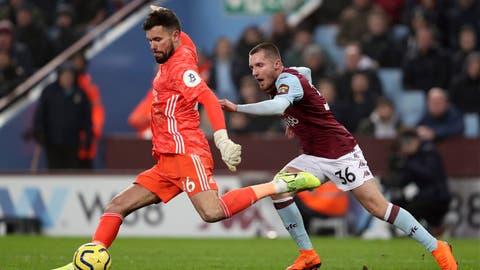 <p>               Watford goalkeeper Ben Foster clears under pressure from Aston Villa's Indiana Vassilev during the English Premier League match at Villa Park, Birmingham, England, Tuesday Jan. 21, 2020. (David Davies/PA via AP)             </p>