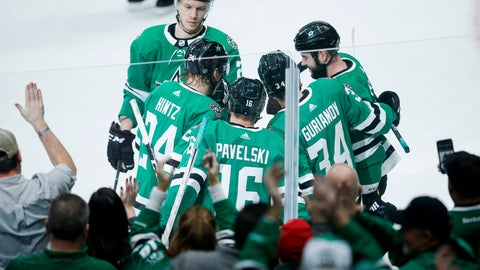 <p>               Dallas Stars forward Joe Pavelski (16) is congratulated by teammates after scoring a goal during the second period of an NHL hockey game against the Detroit Red Wings, Friday, Jan. 3, 2020, in Dallas. (AP Photo/Brandon Wade)             </p>