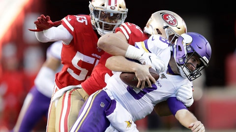 <p>               Minnesota Vikings quarterback Kirk Cousins, foreground, is tackled by San Francisco 49ers defensive end Nick Bosa, center, during the second half of an NFL divisional playoff football game, Saturday, Jan. 11, 2020, in Santa Clara, Calif. Also pictured at rear is defensive end Dee Ford. (AP Photo/Ben Margot)             </p>
