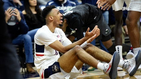 <p>               Connecticut's Tyler Polley questions an out-of-bounds call during the second half of the team's NCAA college basketball game against Tulane on Wednesday, Jan. 8, 2020, in Storrs, Conn. (AP Photo/Stephen Dunn)             </p>