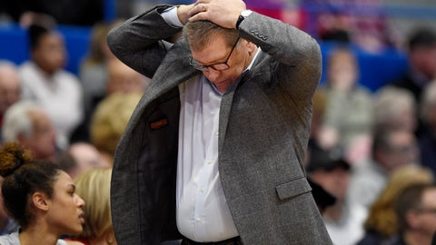 <p>               Connecticut coach Geno Auriemma reacts during the second half of the team's NCAA college basketball game against Baylor, Thursday, Jan. 9, 2020, in Hartford, Conn. (AP Photo/Jessica Hill)             </p>