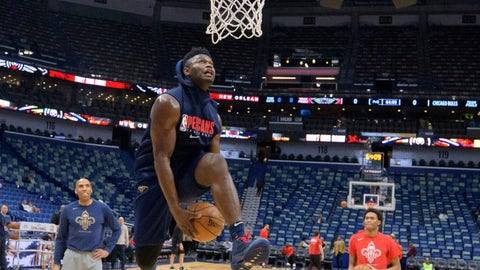 <p>               New Orleans Pelicans forward Zion Williamson goes to the basket before the start of an NBA basketball game against the Chicago Bulls in New Orleans, Wednesday, Jan. 8, 2020. Williamson is not scheduled to play. (AP Photo/Matthew Hinton)             </p>