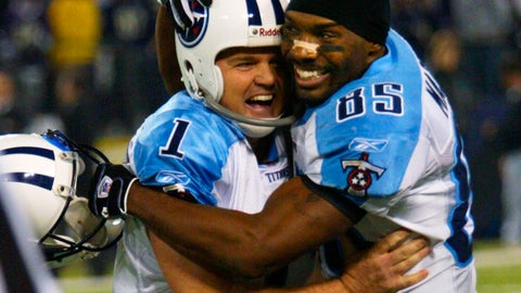 <p>               FILE - In this Jan. 3, 2004, file photo, Tennessee Titans' receiver Derrick Mason, right, hugs kicker Gary Anderson after his game-winning fourth quarter touchdown against the Baltimore Ravens during their AFC wildcard playoff game in Baltimore. The Titans playing the Ravens in the divisional round Saturday, Jan. 11, 2020, has revived strong memories of a very intense and bitter playoff rivalry along with the agony of possible Super Bowl titles lost. (AP Photo/Rusty Kennedy, File)             </p>