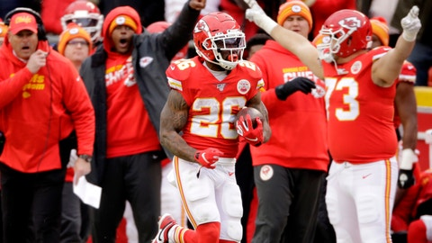 <p>               Kansas City Chiefs running back Damien Williams (26) runs for a touchdown during the second half of an NFL football game against the Los Angeles Chargers in Kansas City, Mo., Sunday, Dec. 29, 2019. (AP Photo/Charlie Riedel)             </p>