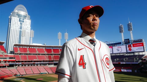 <p>               Cincinnati Reds outfielder Shogo Akiyama stands for photographs at Great American Ballpark after a news conference, Wednesday, Jan. 8, 2020, in Cincinnati. Outfielder Shogo Akiyama agreed to a $21 million, three-year deal with the Cincinnati Reds, the only major league baseball team that hasn't had a player born in Japan. The 31-year-old center fielder was a five-time All-Star during his nine seasons with the Seibu Lions in Japan's Pacific League. (AP Photo/John Minchillo)             </p>