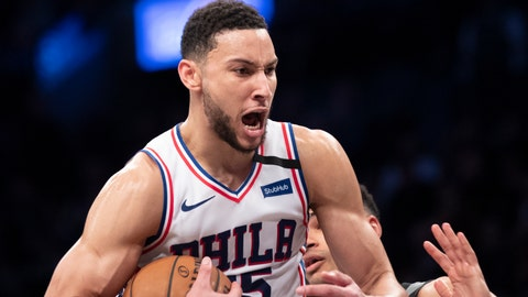 <p>               Philadelphia 76ers guard Ben Simmons reacts after grabbing a rebound during the second half of an NBA basketball game against the Brooklyn Nets, Monday, Jan. 20, 2020, in New York. The 76ers won 117-111. (AP Photo/Mary Altaffer)             </p>