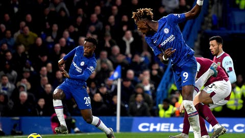 <p>               Chelsea's Callum Hudson-Odoi, left, on his way to score his team's third goal ,  during the English Premier League soccer match between Chelsea and Burnley at Stamford Bridge, in London, Saturday, Jan. 11, 2020. (Victoria Jones/PA via AP)             </p>