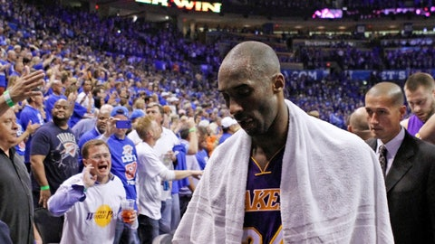 <p>               FILE - In this May 21, 2012 file photo Los Angeles Lakers guard Kobe Bryant (24) walks off the court in Game 5 of an NBA basketball Western Conference semifinal playoff series game against the Oklahoma City Thunder in Oklahoma City. Bryant, the 18-time NBA All-Star who won five championships and became one of the greatest basketball players of his generation during a 20-year career with the Los Angeles Lakers, died in a helicopter crash Sunday, Jan. 26, 2020. He was 41. (AP Photo/Alonzo Adams, file)             </p>
