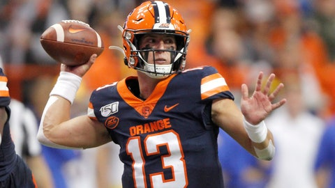 <p>               FILE - In this Friday, Oct. 18, 2019, file photo, Syracuse's Tommy DeVito passes the ball during the first quarter of the team's NCAA college football game against Pittsburgh, in Syracuse, N.Y. DeVito is ready to turn the page on the 2019 season. (AP Photo/Nick Lisi, File)             </p>