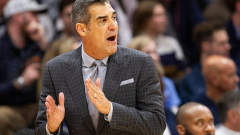 <p>               Villanova head coach Jay Wright shouts from the sideline during the second half of an NCAA college basketball game against Xavier, Monday, Dec. 30, 2019, in Villanova, Pa. Villanova won 68-62. (AP Photo/Laurence Kesterson)             </p>