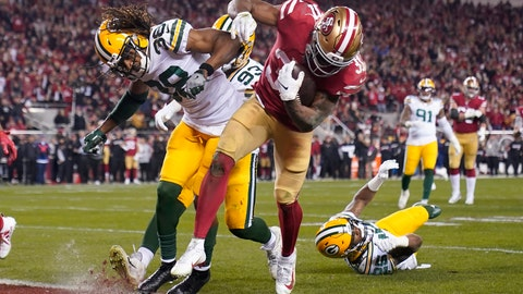 <p>               San Francisco 49ers running back Raheem Mostert, center right, scores a touchdown next to Green Bay Packers cornerback Tramon Williams during the second half of the NFL NFC Championship football game Sunday, Jan. 19, 2020, in Santa Clara, Calif. (AP Photo/Tony Avelar)             </p>