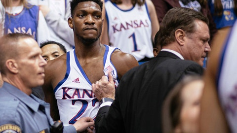 <p>               Kansas forward Silvio De Sousa (22) and coach Bill Self stand on court side following a brawl in the second half of an NCAA college basketball game against Kansas State, Jan. 21, 2020 in Lawrence, Kan. (Emma Pravecek/University Daily Kansan via AP)             </p>