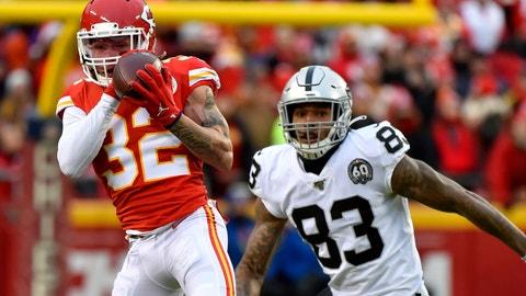 <p>               Kansas City Chiefs safety Tyrann Mathieu (32) intercepts a pass intended for Oakland Raiders tight end Darren Waller (83) during the first half of an NFL football game in Kansas City, Mo., Sunday, Dec. 1, 2019. (AP Photo/Ed Zurga)             </p>