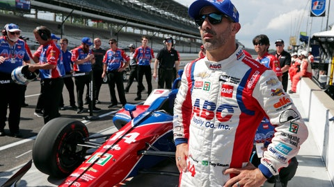 """<p>               FILE - In this May 19, 2018, file photo, Tony Kanaan, of Brazil, watches after his run during qualifications for the IndyCar Indianapolis 500 auto race at Indianapolis Motor Speedway, in Indianapolis. Kanaan will get to race 5 oval events, including the Indianapolis 500, in what will be called his """"farewell tour"""" this upcoming IndyCar season. (AP Photo/Michael Conroy, File)             </p>"""