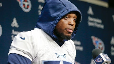 <p>               Tennessee Titans running back Derrick Henry answers questions before an NFL football practice Thursday, Jan. 16, 2020, in Nashville, Tenn. The Titans are scheduled to face the Kansas City Chiefs in the AFC Championship game Sunday. (AP Photo/Mark Humphrey)             </p>