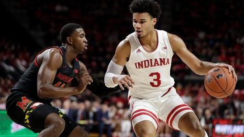 <p>               Indiana forward Justin Smith (3) drives against Maryland guard Darryl Morsell during the first half of a NCAA college basketball game, Saturday, Jan. 4, 2020, in College Park, Md. (AP Photo/Julio Cortez)             </p>