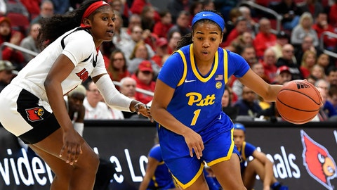 <p>               Pittsburgh guard Dayshanette Harris (1) drives around Louisville guard Elizabeth Balogun (4) during the first half of an NCAA college basketball game in Louisville, Ky., Sunday, Jan. 26, 2020. (AP Photo/Timothy D. Easley)             </p>
