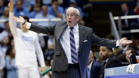<p>               North Carolina coach Roy Williams reacts during the first half of the team's NCAA college basketball game against Georgia Tech in Chapel Hill, N.C., Saturday, Jan. 4, 2020. (AP Photo/Gerry Broome)             </p>