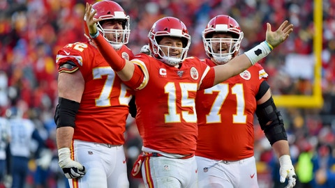 <p>               Kansas City Chiefs' Patrick Mahomes (15) celebrates a touchdown pass with Eric Fisher (72) and Mitchell Schwartz (71) during the second half of the NFL AFC Championship football game against the Tennessee Titans Sunday, Jan. 19, 2020, in Kansas City, MO. (AP Photo/Ed Zurga)             </p>
