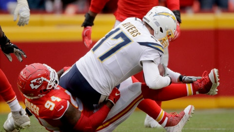 <p>               Kansas City Chiefs defensive end Terrell Suggs (94) sacks Los Angeles Chargers quarterback Philip Rivers (17) during the second half of an NFL football game in Kansas City, Mo., Sunday, Dec. 29, 2019. (AP Photo/Charlie Riedel)             </p>