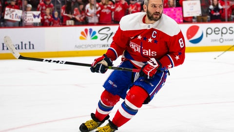 <p>               Washington Capitals left wing Alex Ovechkin (8), from Russia, skates during warmups before an NHL hockey game against the New Jersey Devils, Thursday, Jan. 16, 2020, in Washington. (AP Photo/Al Drago)             </p>