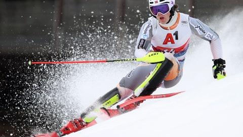 <p>               Norway's Lucas Braathen speeds down the course during an alpine ski, men's World Cup slalom, in Kitzbuehel, Austria, Sunday, Jan. 26, 2020. (AP Photo/Alessandro Trovati)             </p>
