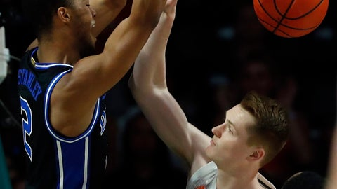 <p>               Duke guard Cassius Stanley (2) dunks the ball against Miami forward Sam Waardenburg (21) during the first half an NCAA college basketball game, Saturday, Jan. 4, 2020, in Coral Gables, Fla. (AP Photo/Wilfredo Lee)             </p>