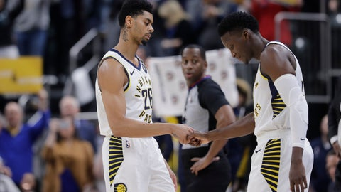 <p>               Indiana Pacers' Jeremy Lamb (26) shakes hands with Victor Oladipo as Oladipo enters during the first half of the team's NBA basketball game against the Chicago Bulls, Wednesday, Jan. 29, 2020, in Indianapolis. (AP Photo/Darron Cummings)             </p>