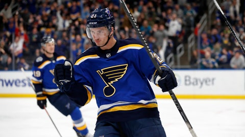 <p>               St. Louis Blues' Tyler Bozak celebrates after scoring during the second period of the team's NHL hockey game against the San Jose Sharks on Tuesday, Jan. 7, 2020, in St. Louis. (AP Photo/Jeff Roberson)             </p>